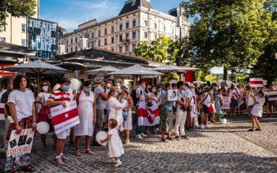 Центр Цюриха 15 августа украсили национальные цвета Беларуси. (@ Андрей Федорченко)