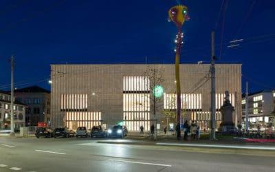 Новая пристройка Кюнстхауса в Цюрихе и светоносный цветок швейцарской художницы Пипилотти Рист (Pipilotti Rist). (© Kunsthaus Zürich)